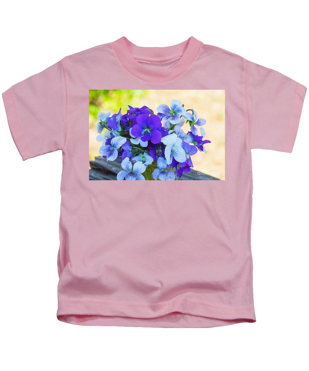 Violet Kids T-Shirt featuring the photograph A Posy For Rachel by Diane Macdonald