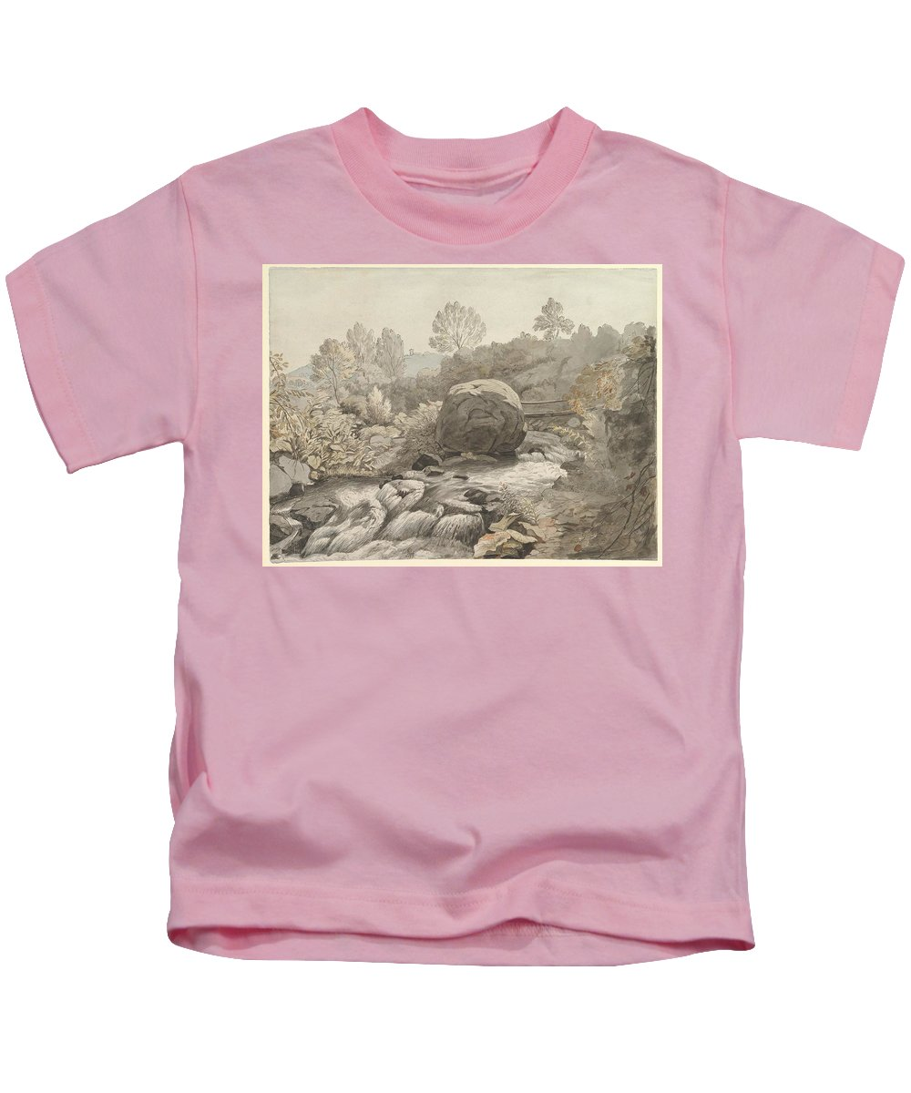 A Rocky Stream Kids T-Shirt featuring the painting A Rocky Stream by MotionAge Designs
