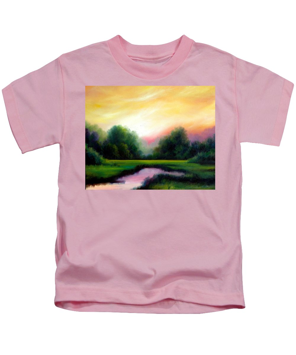 Clouds Kids T-Shirt featuring the painting A Spring Evening by James Christopher Hill