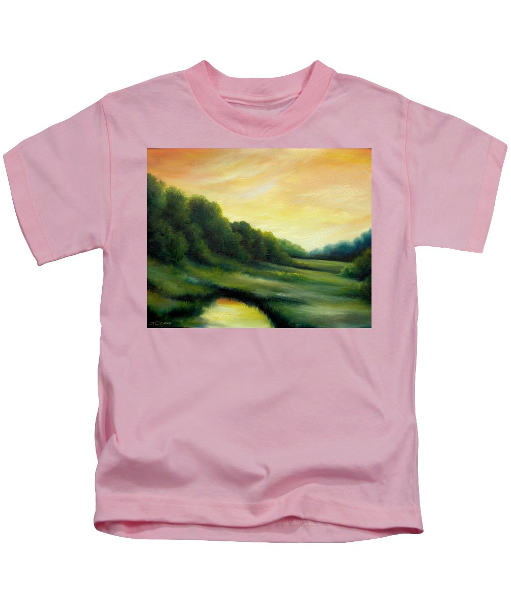 Clouds Kids T-Shirt featuring the painting A Spring Evening Part Two by James Christopher Hill