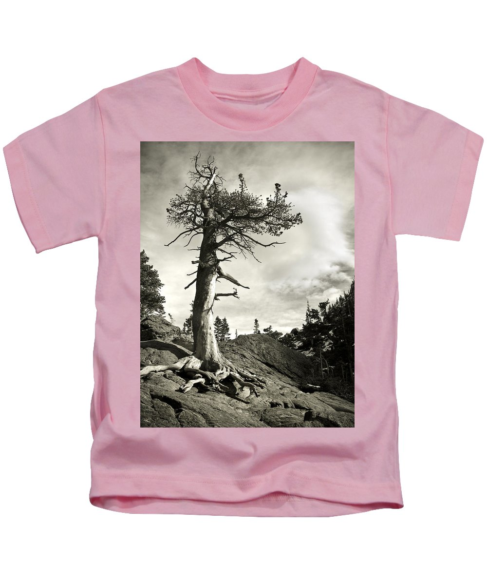 Tree Kids T-Shirt featuring the photograph A Tough Life by Marilyn Hunt