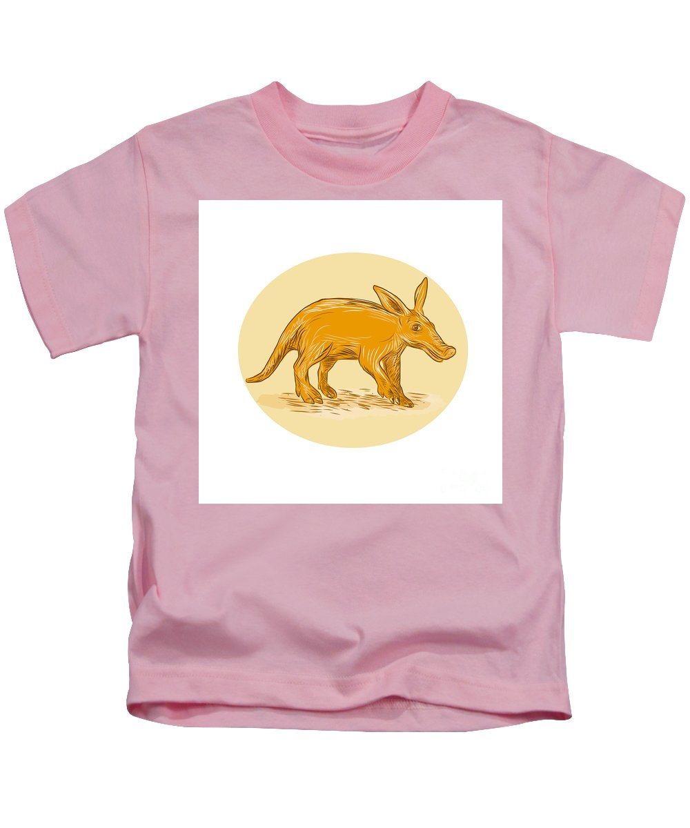 Drawing Kids T-Shirt featuring the digital art Aardvark African Ant Bear Drawing by Aloysius Patrimonio