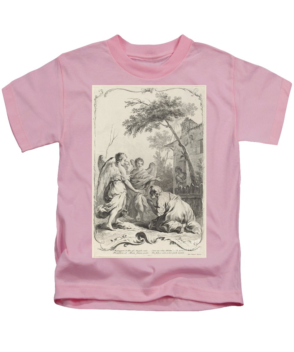 Kids T-Shirt featuring the painting Abraham Kneeling Before The Three Angels by Joseph Wagner (publisher) After Jacopo Amigoni
