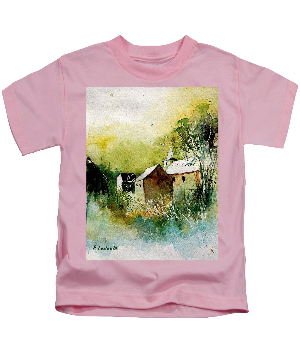 Village Kids T-Shirt featuring the painting Abstract 260608 by Pol Ledent