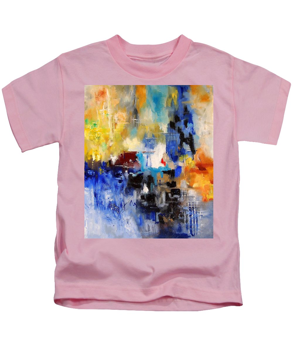 Abstract Kids T-Shirt featuring the painting Abstract 69070 by Pol Ledent