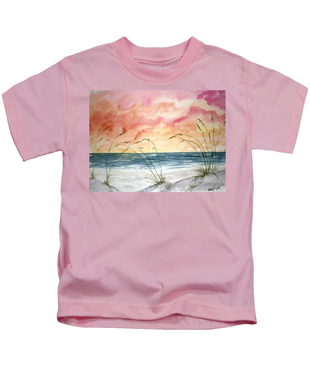 Abstract Kids T-Shirt featuring the painting Abstract Beach Painting by Derek Mccrea