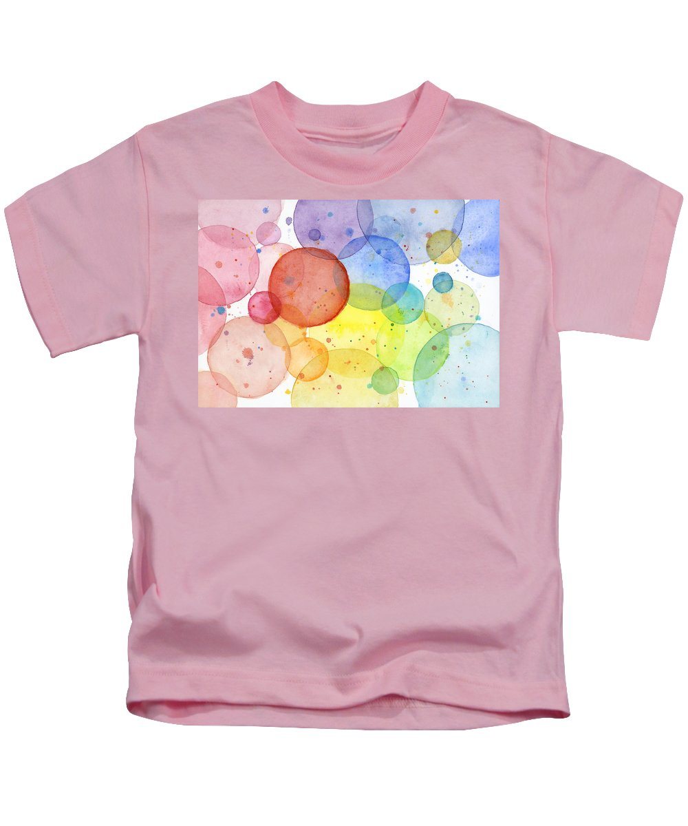 Design Kids T-Shirt featuring the painting Abstract Watercolor Rainbow Circles by Olga Shvartsur