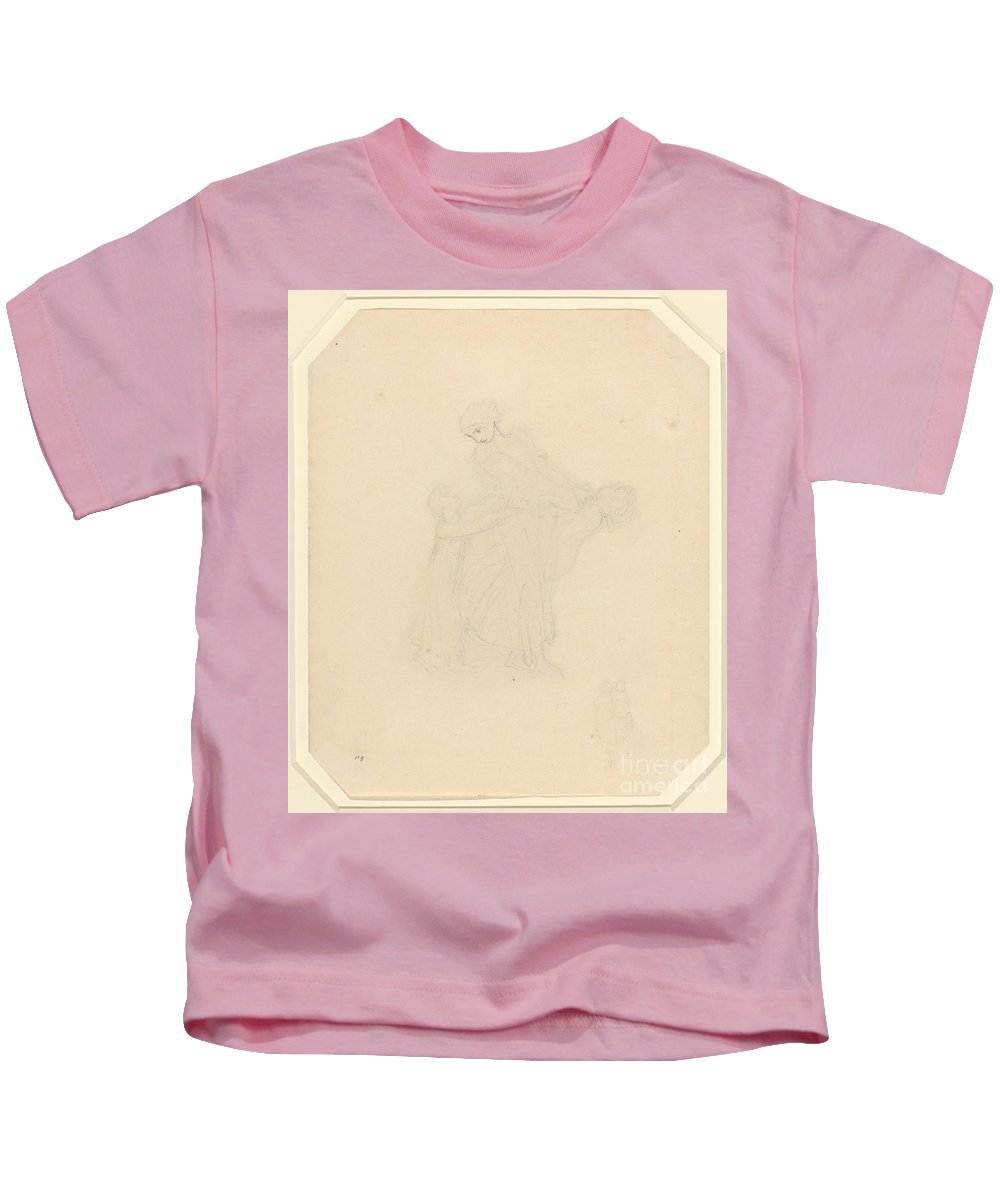 Kids T-Shirt featuring the painting Adult And Two Children by John Flaxman