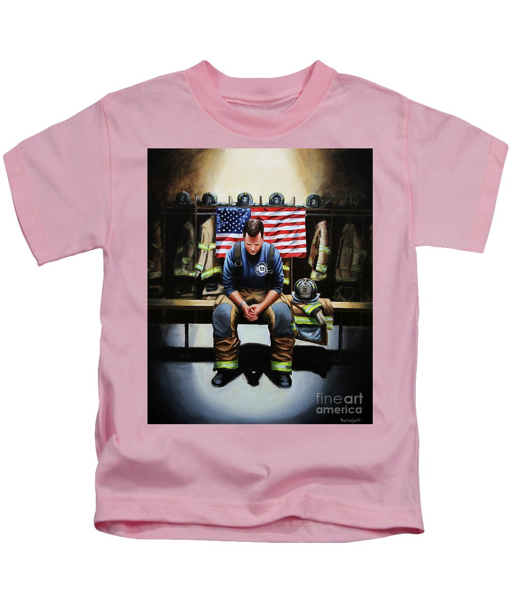 Firefighter Kids T-Shirt featuring the painting After the Fire by Paul Walsh