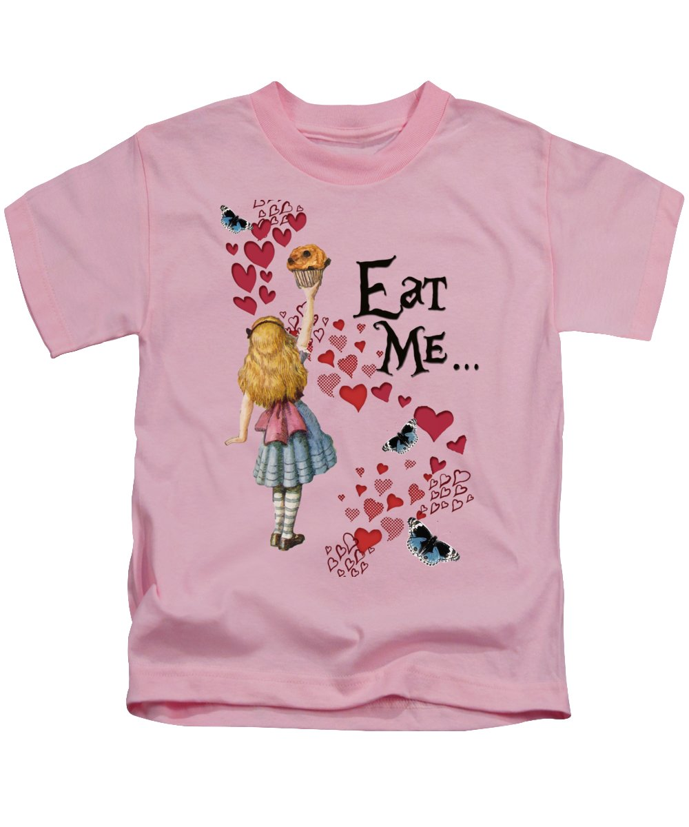 Vintage Kids T-Shirt featuring the digital art Alice In The Wonderland Eat Me Muffin by Anna W