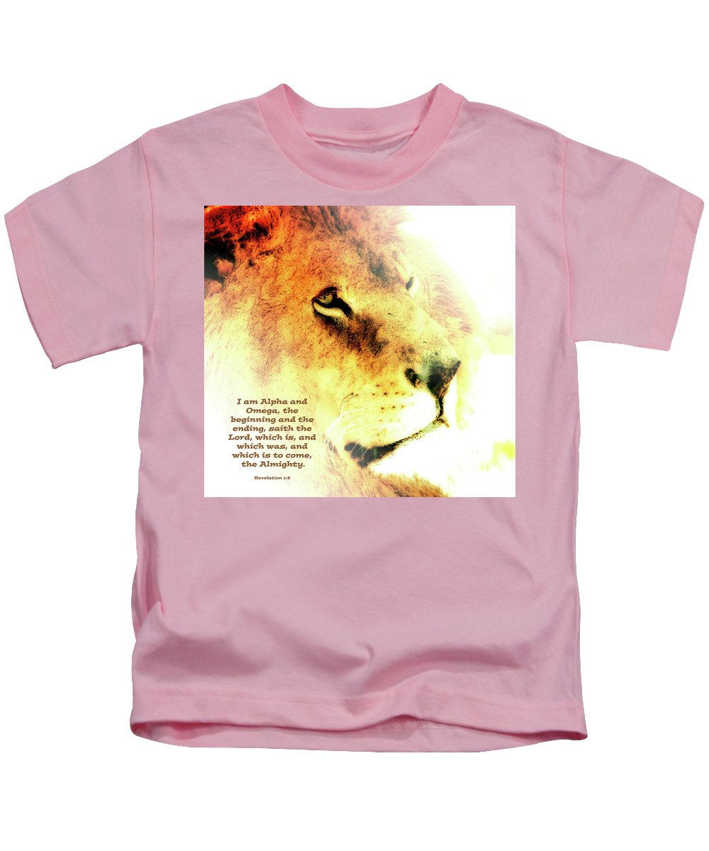 Alpha Kids T-Shirt featuring the mixed media Alpha And Omega by Debbie Nobile