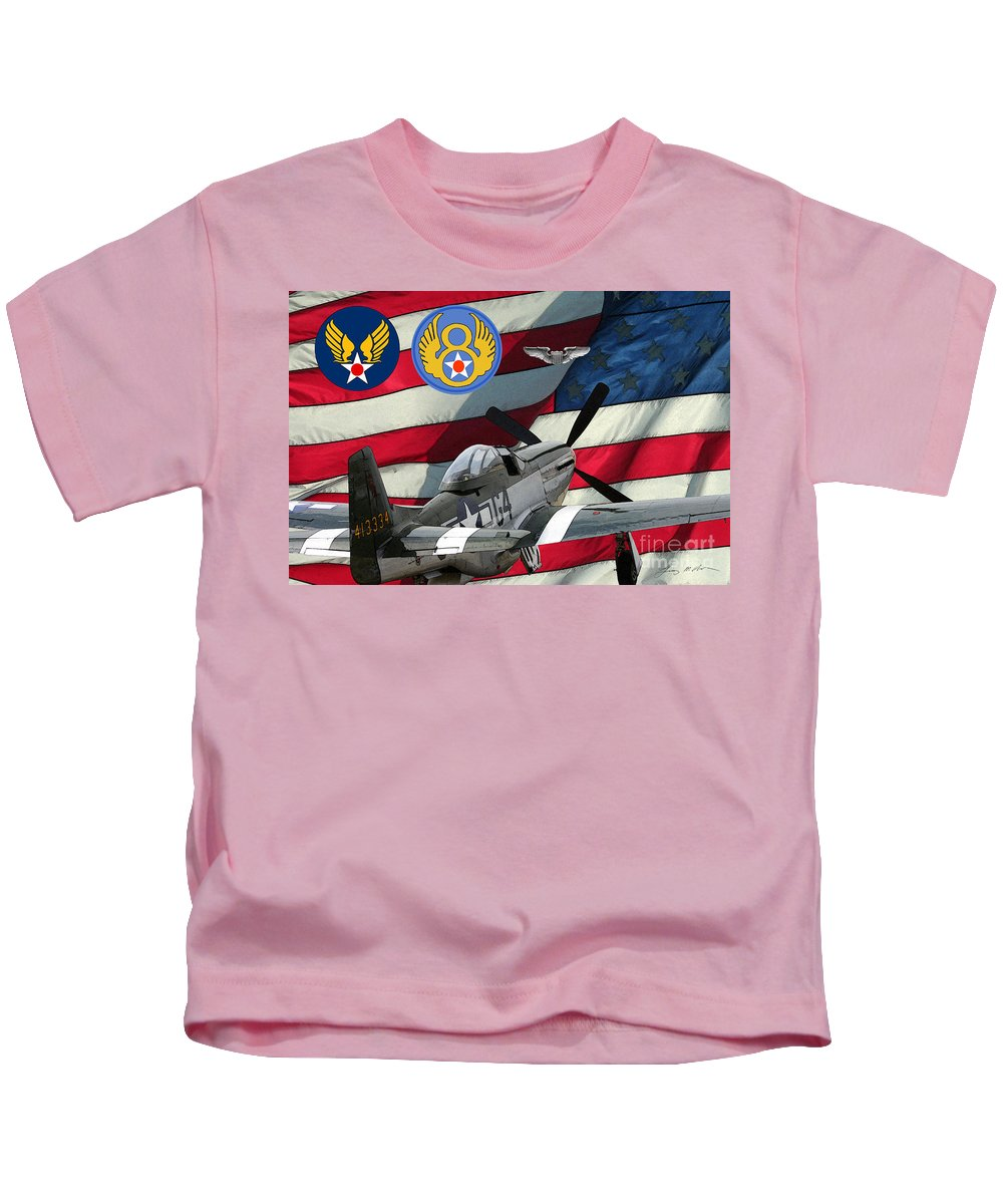 North American Kids T-Shirt featuring the digital art An American P-51d Pof by Tommy Anderson