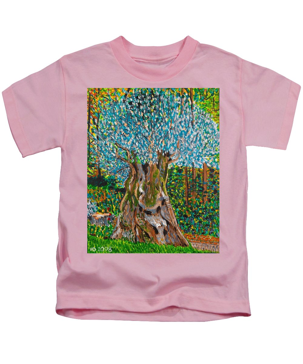 Olive Kids T-Shirt featuring the painting Ancient Olive Tree by Valerie Ornstein