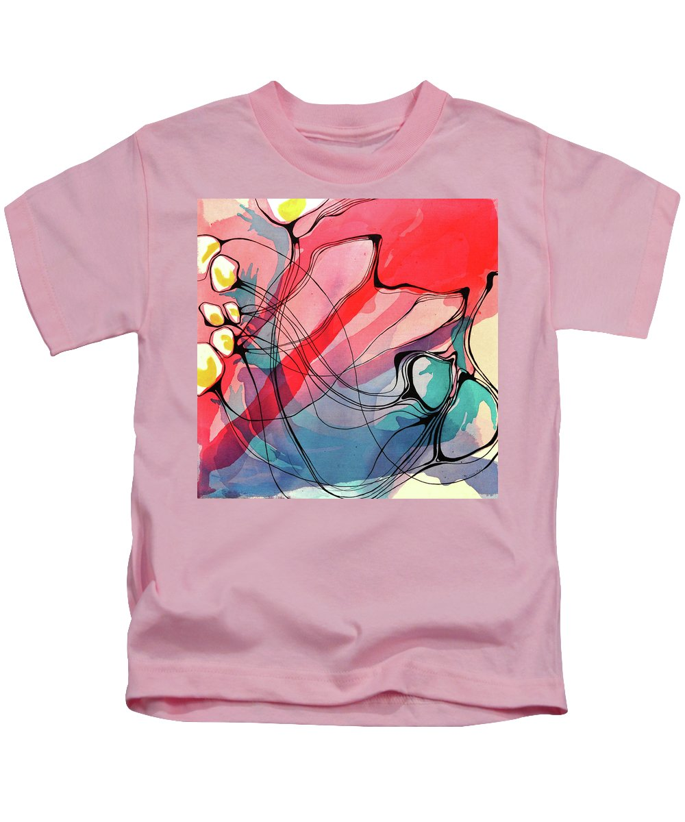 Acrylic Painting Kids T-Shirt featuring the painting And It's Havoc by Darcy Lee Saxton
