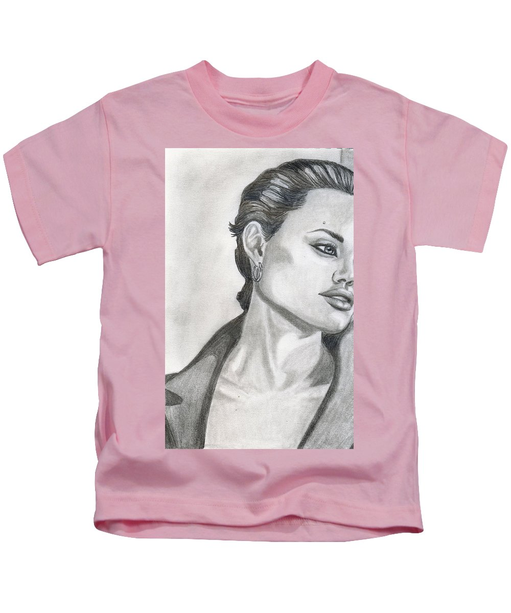 Pencil Kids T-Shirt featuring the drawing Angelina Jolie by Alban Dizdari