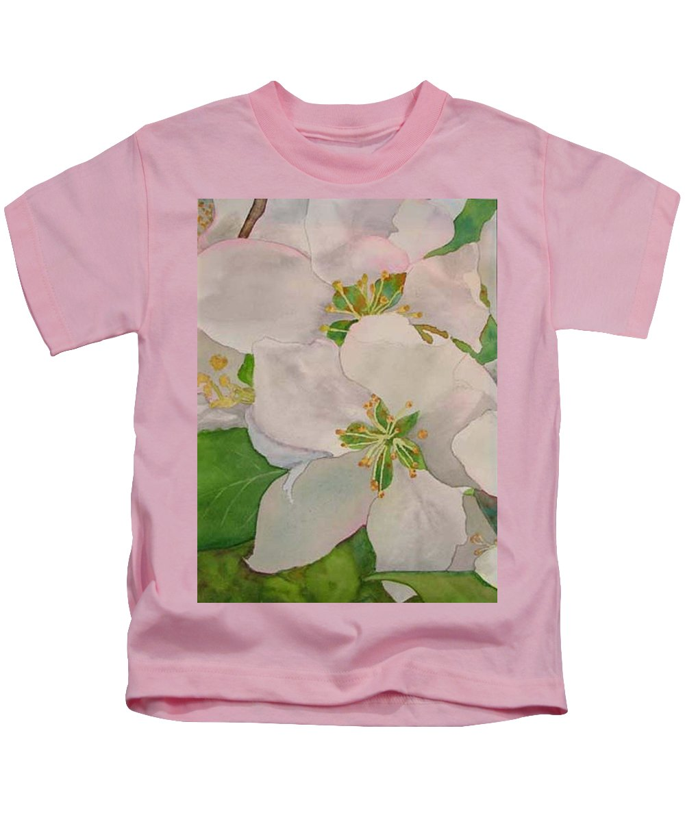 Apple Blossoms Kids T-Shirt featuring the painting Apple Blossoms by Sharon E Allen