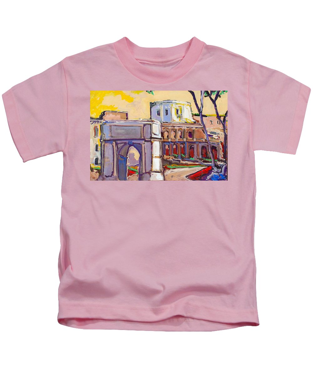 Rome Kids T-Shirt featuring the painting Arco Di Romano by Kurt Hausmann