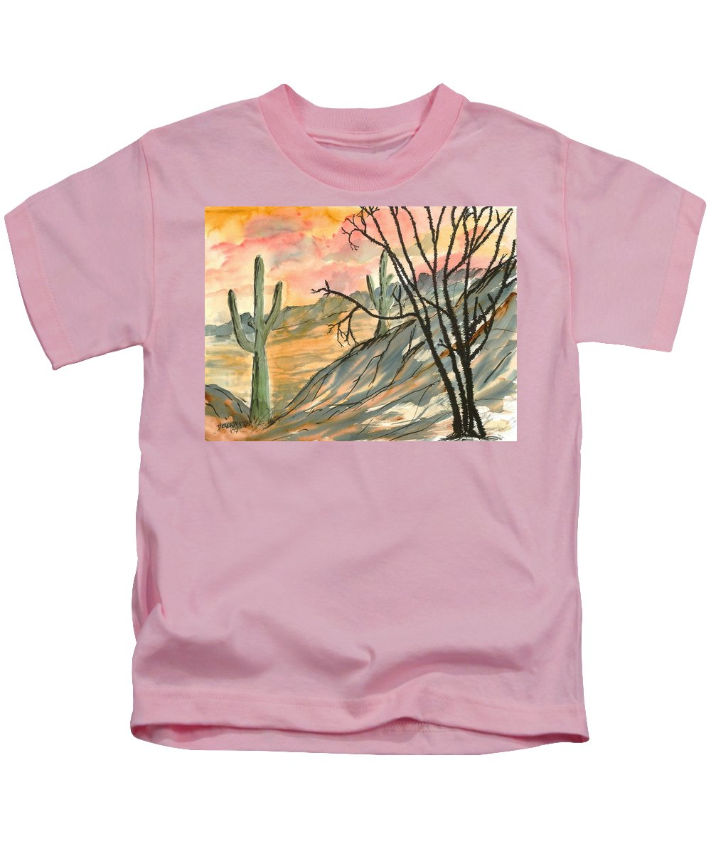 Drawing Kids T-Shirt featuring the painting Arizona Evening Southwestern landscape painting poster print by Derek Mccrea