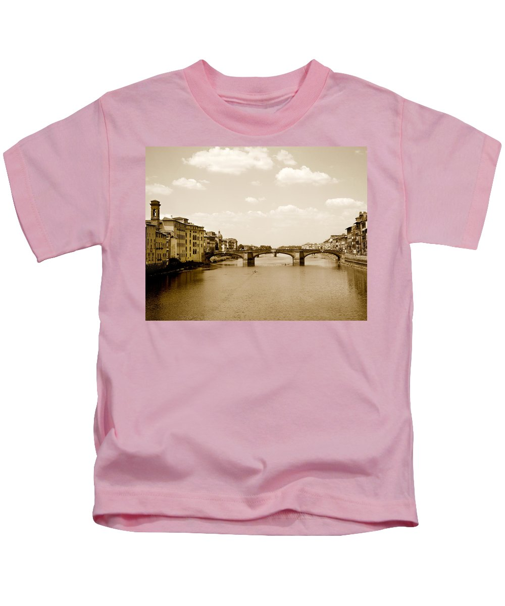 Italy Kids T-Shirt featuring the photograph Arno River Florence by Marilyn Hunt
