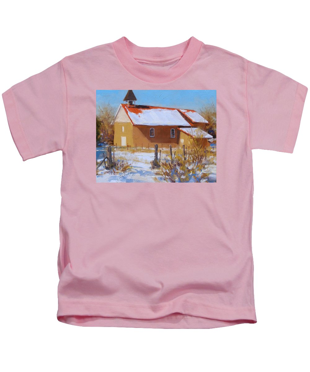 Fineart Kids T-Shirt featuring the painting Arroyo Seco In Winter by Spike Ress