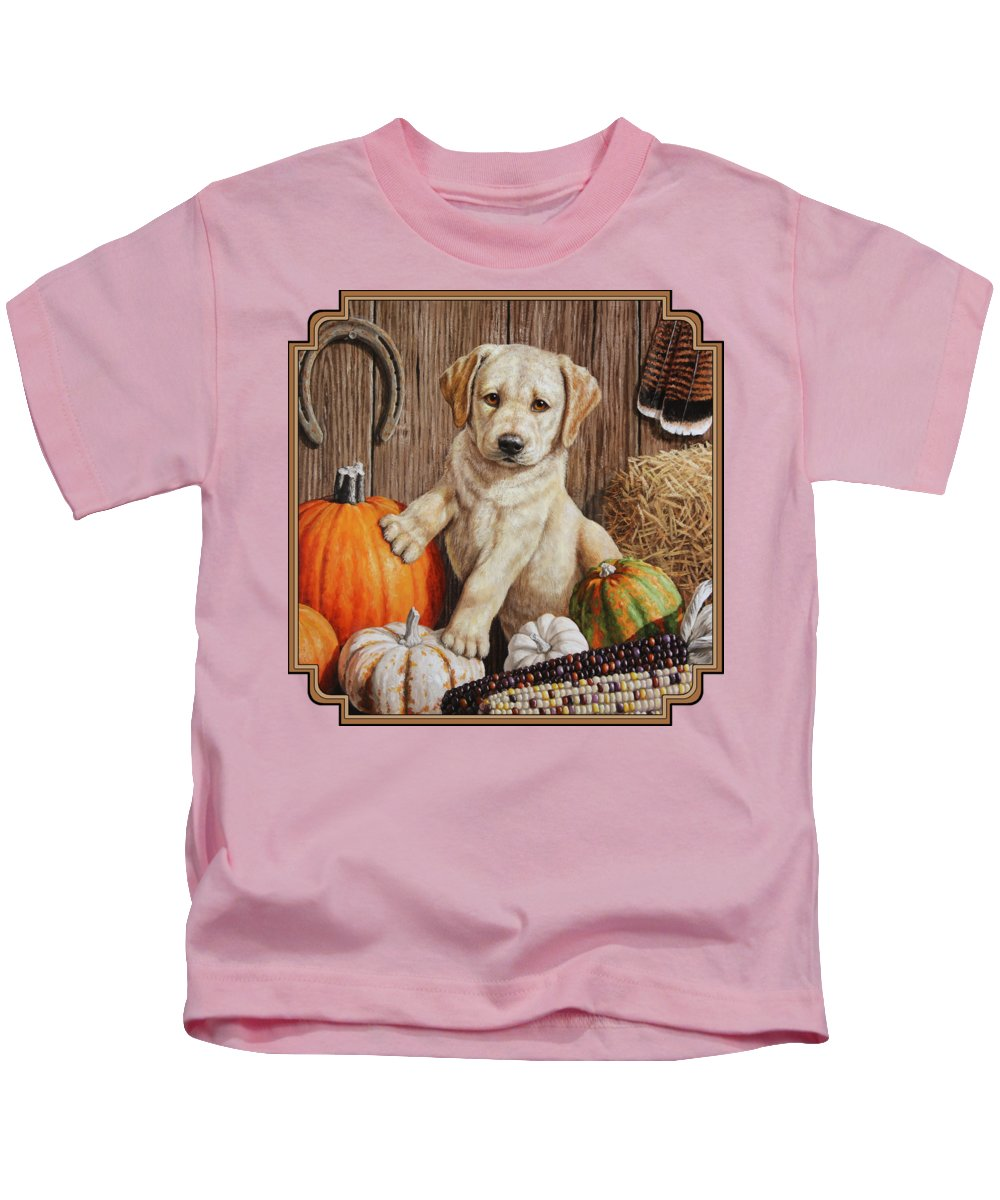 Puppy Kids T-Shirt featuring the painting Pumpkin Puppy by Crista Forest