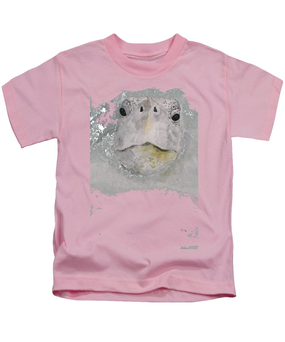 Sea Kids T-Shirt featuring the painting Turtle Face by Kathy Carothers