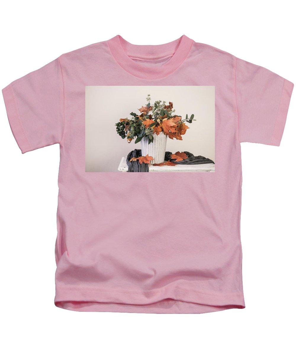 Leave Kids T-Shirt featuring the photograph Autumn Arrangement by Kim Hojnacki