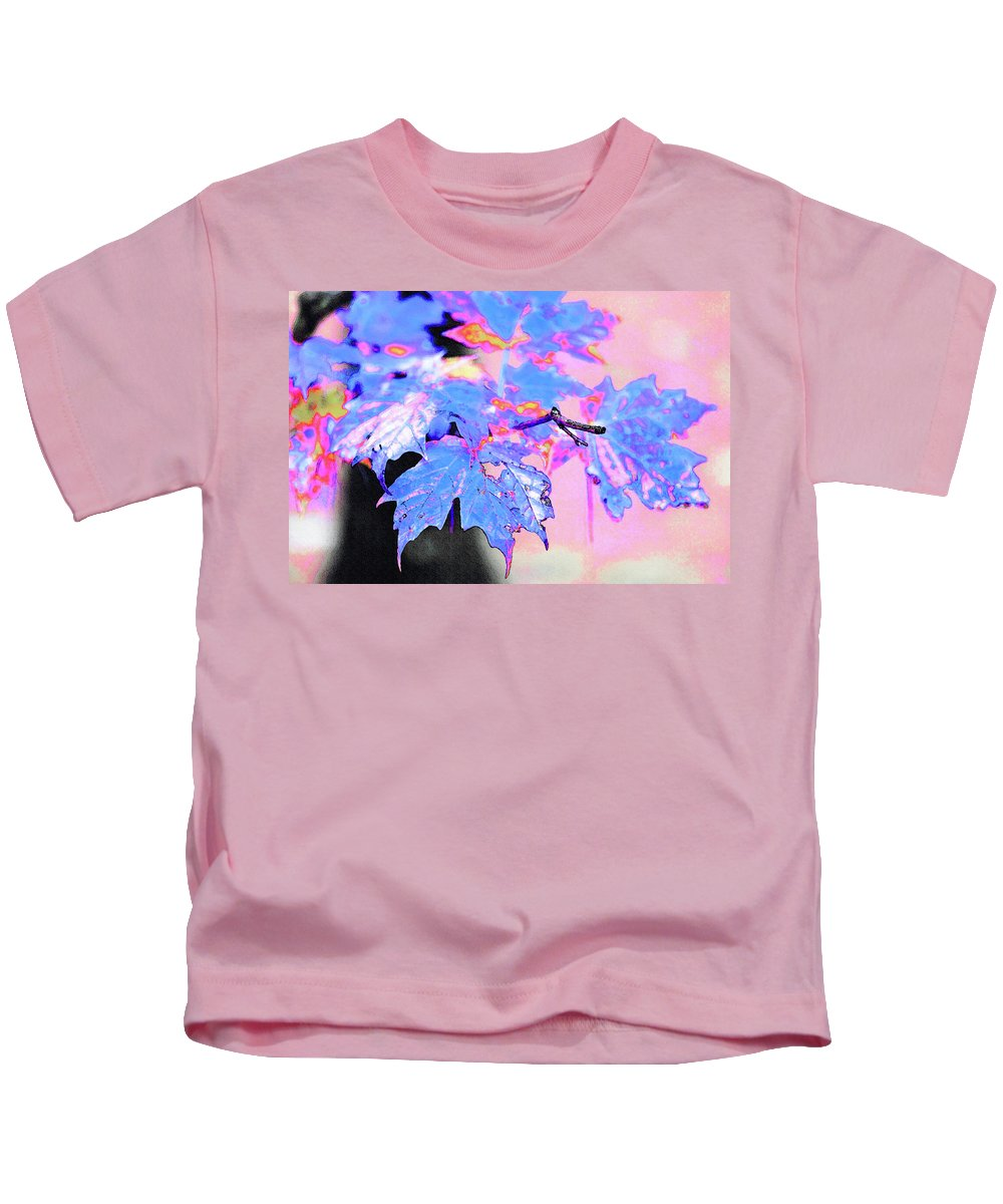 New England Kids T-Shirt featuring the photograph Autumn Leaves In Blue by Betty LaRue