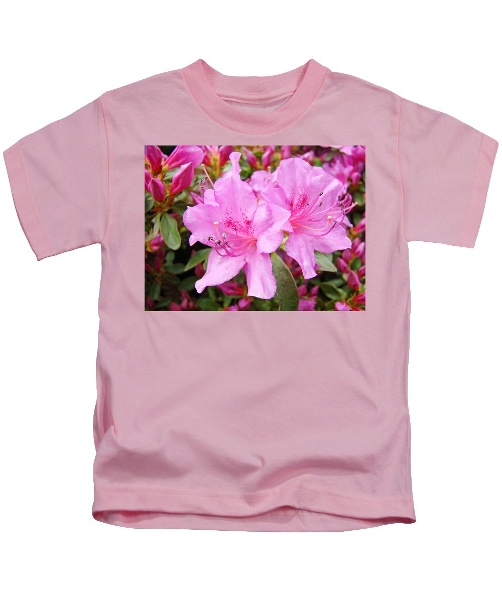 Azalea Kids T-Shirt featuring the photograph Azalea Garden Art Prints Pink Azaleas Flowers Baslee Troutman by Baslee Troutman