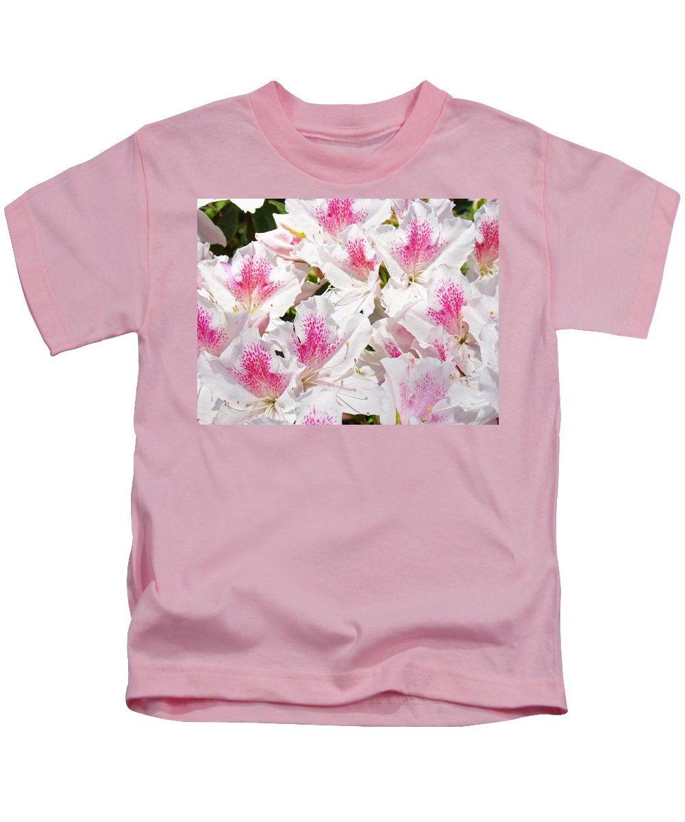 Azalea Kids T-Shirt featuring the photograph Azaleas Flowers Pink White Azalea Floral Baslee Troutman by Baslee Troutman