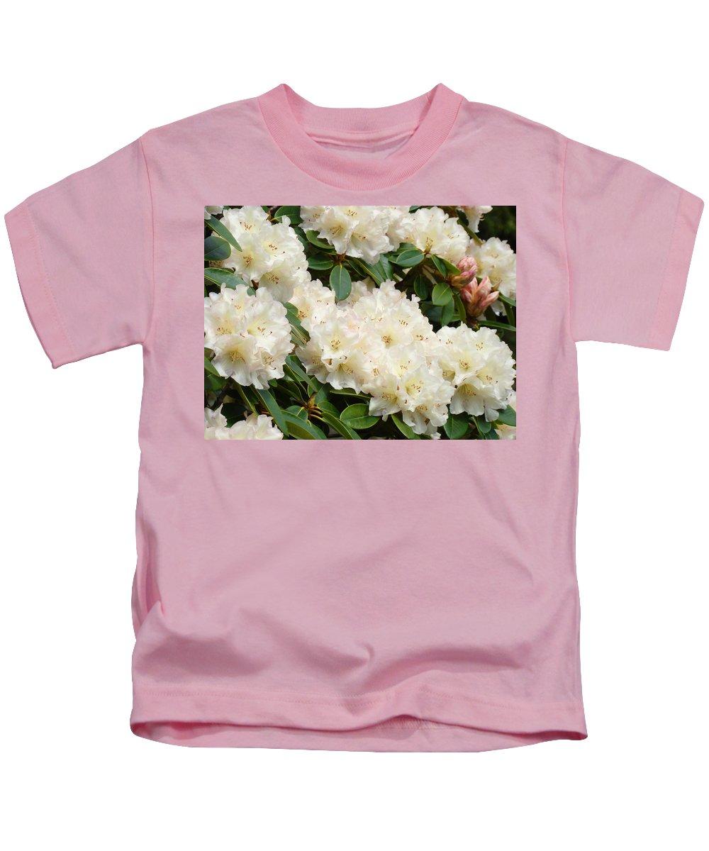 �azaleas Artwork� Kids T-Shirt featuring the photograph Azaleas Rhodies Landscape White Pink Rhododendrum Flowers 8 Giclee Art Prints Baslee Troutman by Baslee Troutman