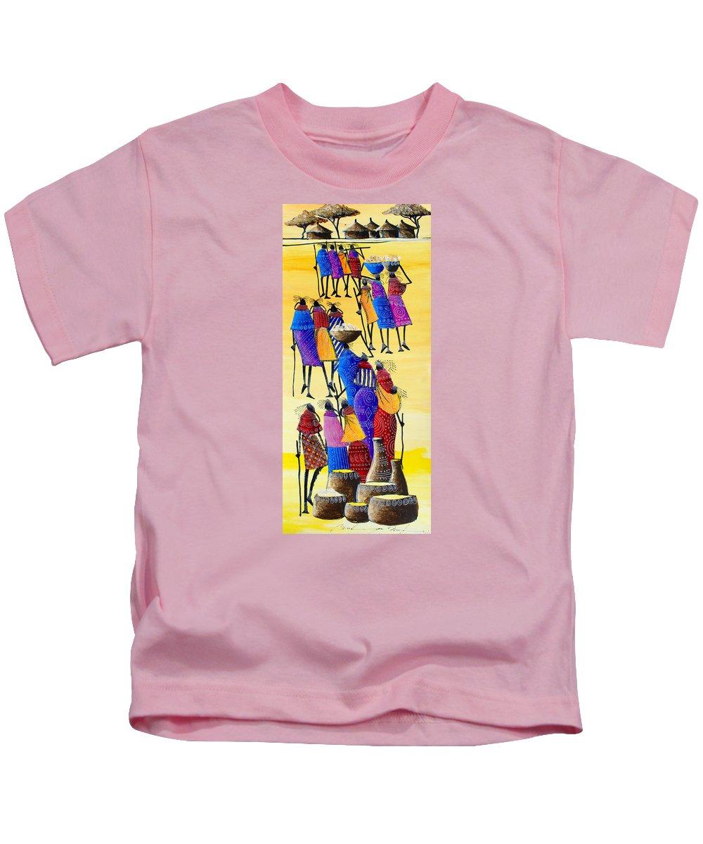 True African Art Kids T-Shirt featuring the painting B 360 by Martin Bulinya
