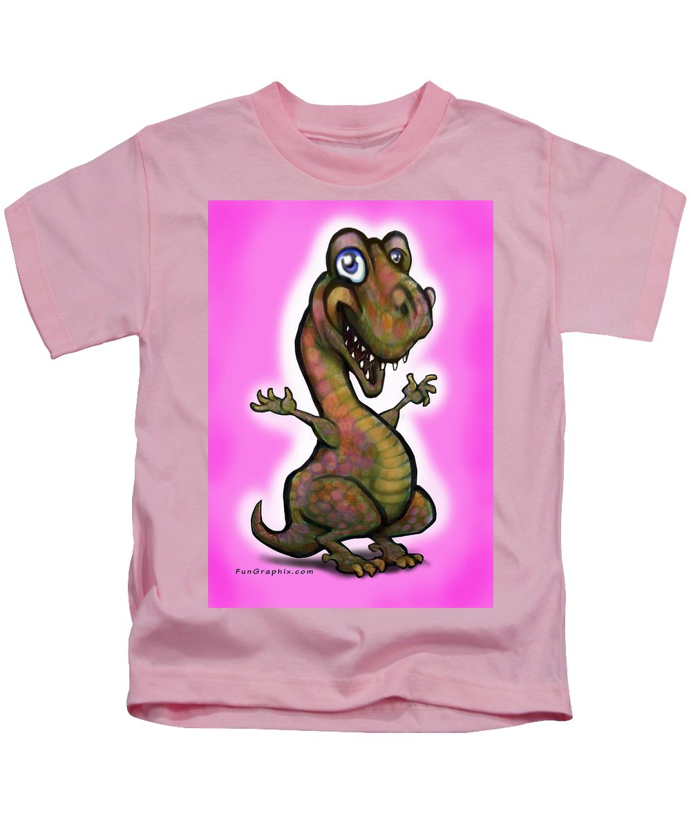 Baby Kids T-Shirt featuring the painting Baby T-rex Pink by Kevin Middleton