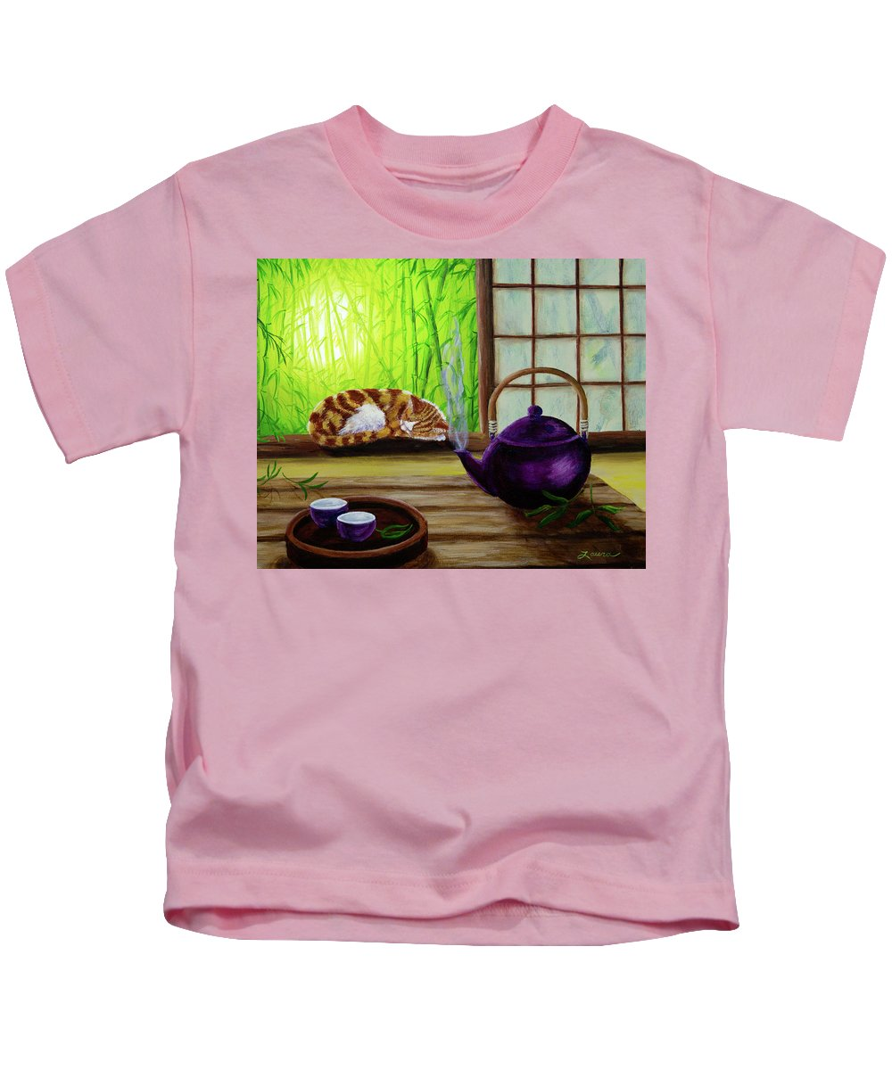 Teapot Kids T-Shirt featuring the painting Bamboo Morning Tea by Laura Iverson