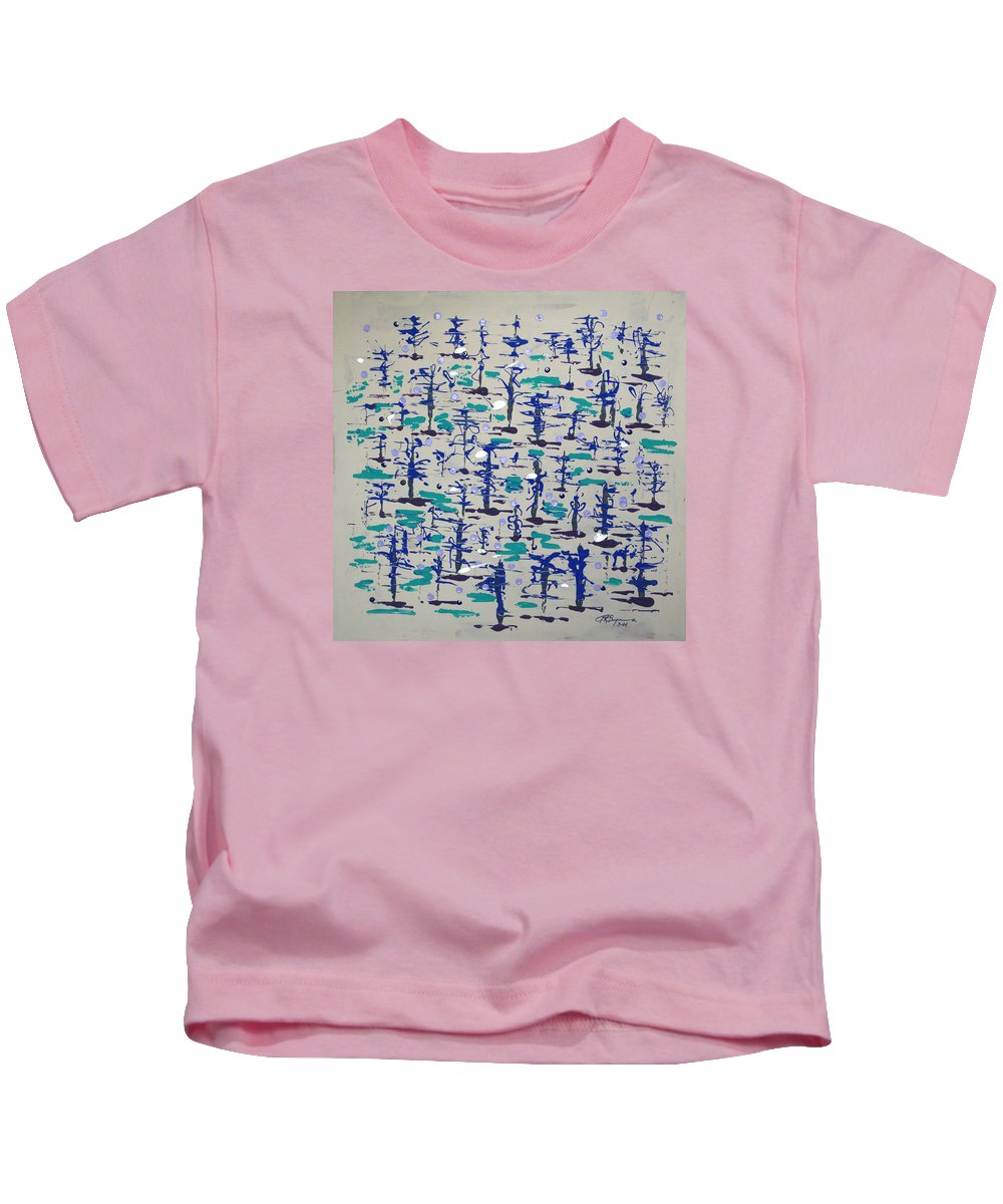 Abstract Kids T-Shirt featuring the painting Bare Trees by J R Seymour