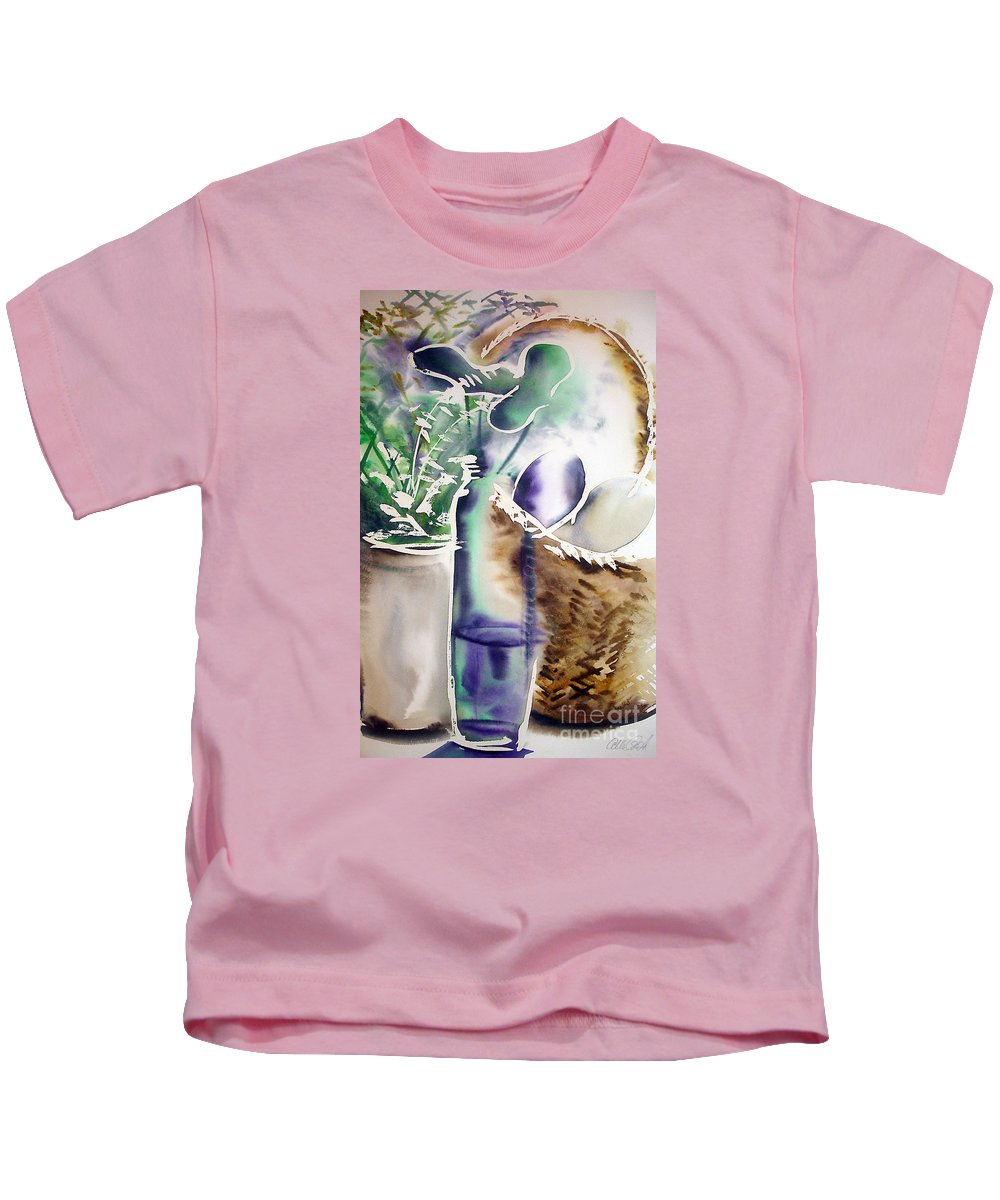 Bottle Kids T-Shirt featuring the painting Basket And Bottle by Allison Ashton