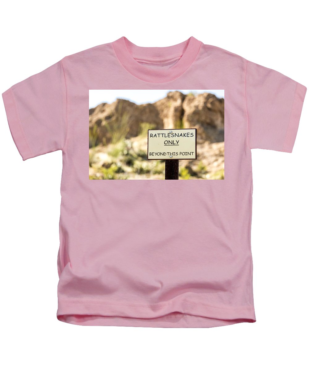 Sign Kids T-Shirt featuring the photograph Be Careful by Jon Berghoff