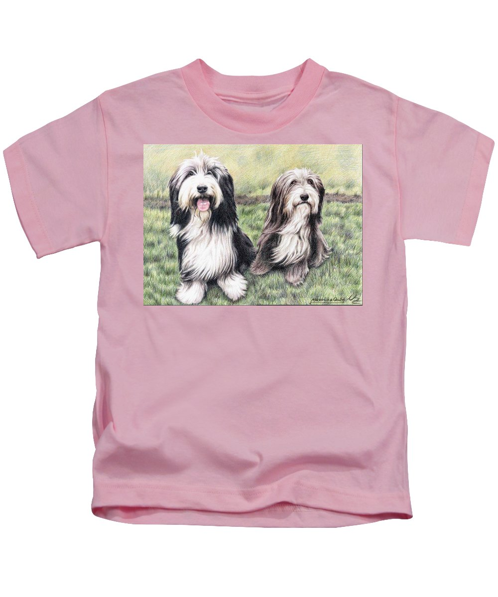 Dogs Kids T-Shirt featuring the drawing Bearded Collies by Nicole Zeug