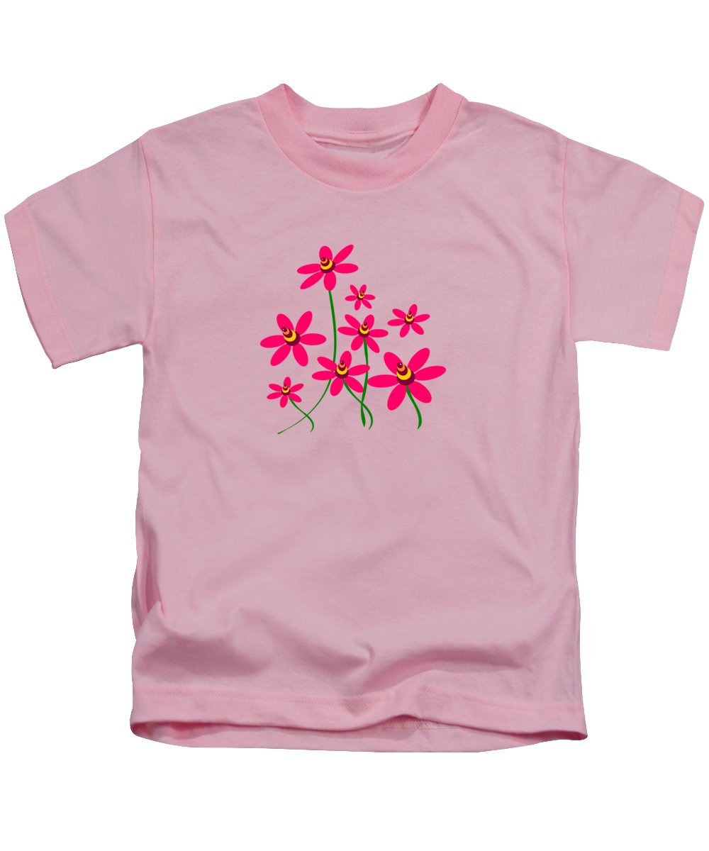 Abstract Kids T-Shirt featuring the digital art Bee Flowers by Anastasiya Malakhova