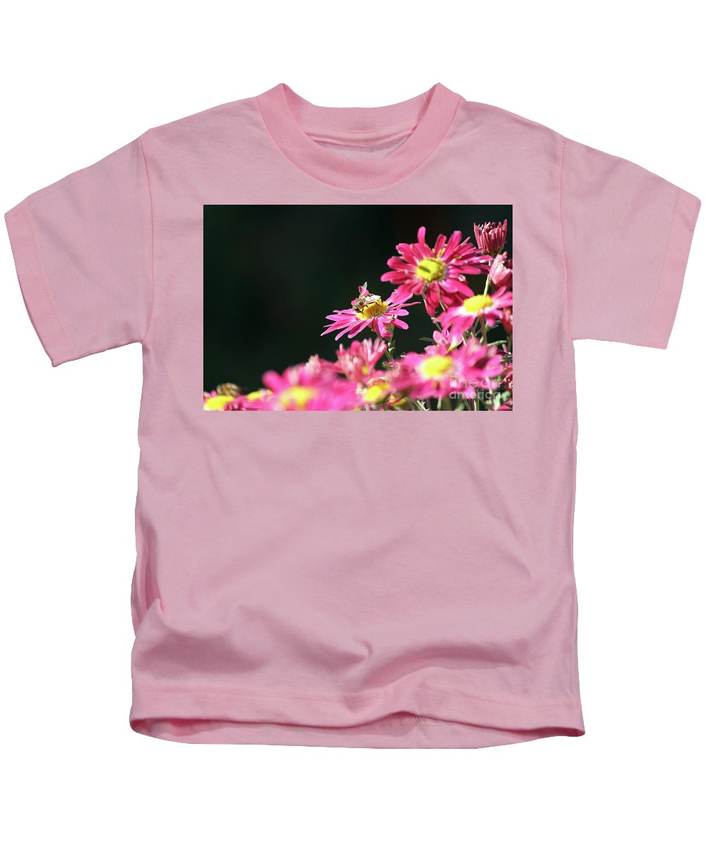 Nature Kids T-Shirt featuring the photograph Bee On Flower Spring Scene by Goce Risteski