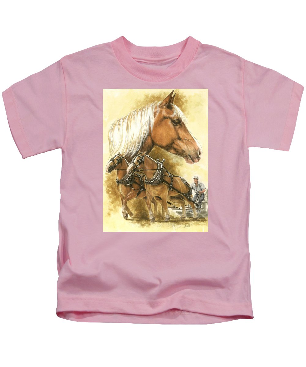 Equus Kids T-Shirt featuring the mixed media Belgian by Barbara Keith