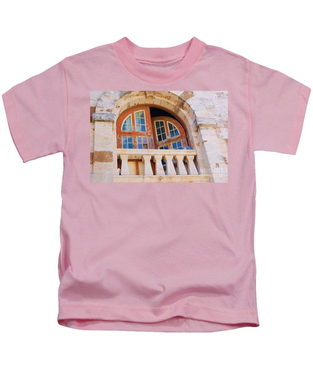 Windows Kids T-Shirt featuring the photograph Bermuda Balcony by Debbi Granruth
