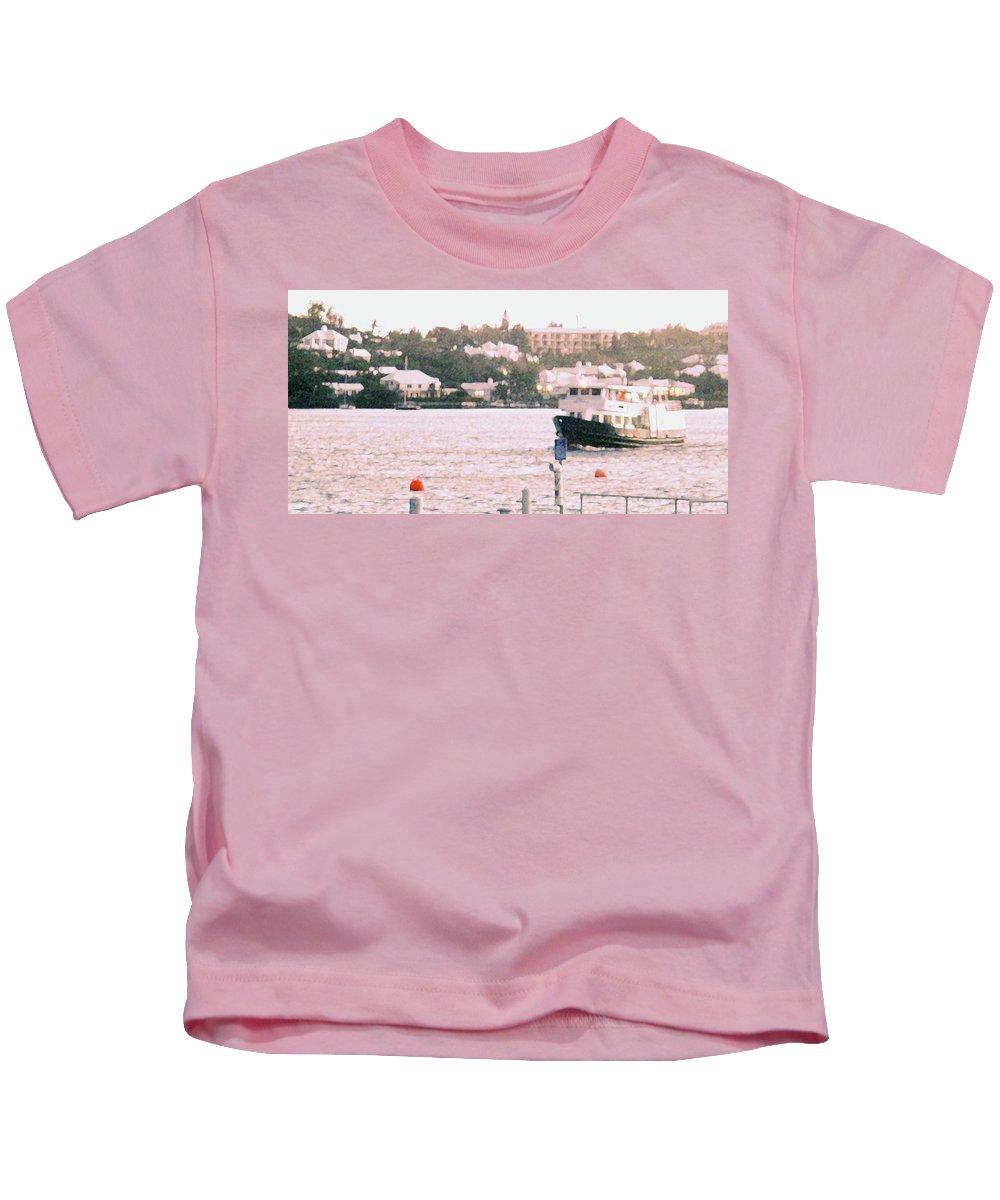 Hamilton Kids T-Shirt featuring the photograph Bermuda Ferry Arriving by Ian MacDonald