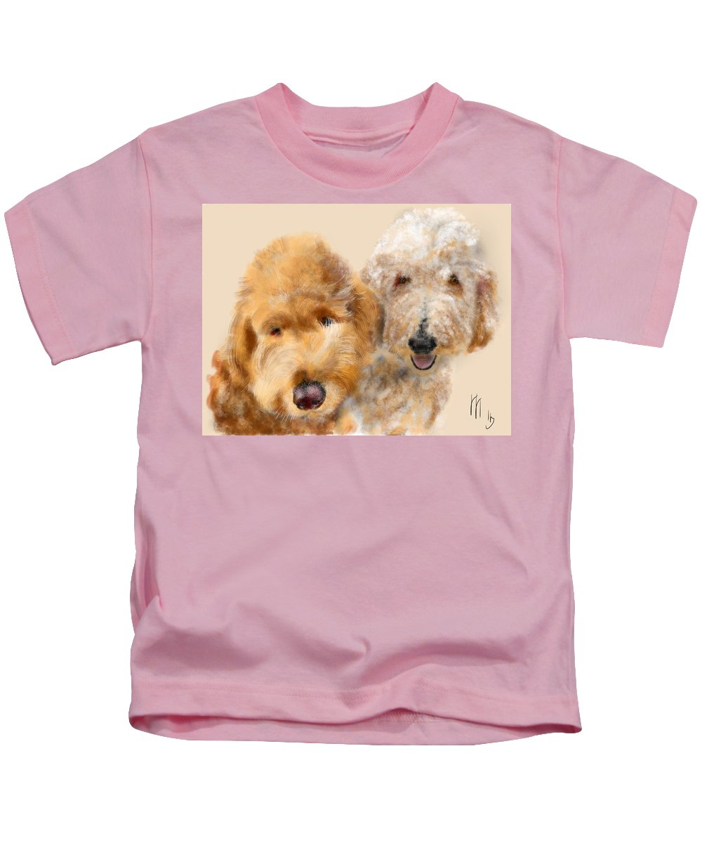 Dogs Kids T-Shirt featuring the painting Best Friends by Lois Ivancin Tavaf