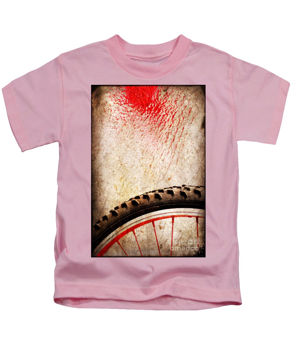 Abstract Kids T-Shirt featuring the photograph Bike Wheel Red Spray by Silvia Ganora