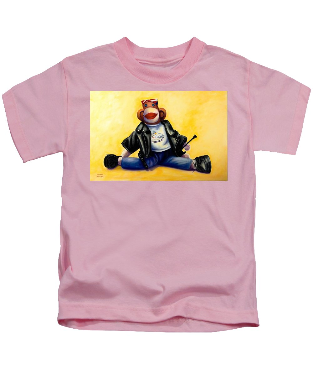Sock Monkey Brown Kids T-Shirt featuring the painting Biker Dude Made Of Sockies by Shannon Grissom