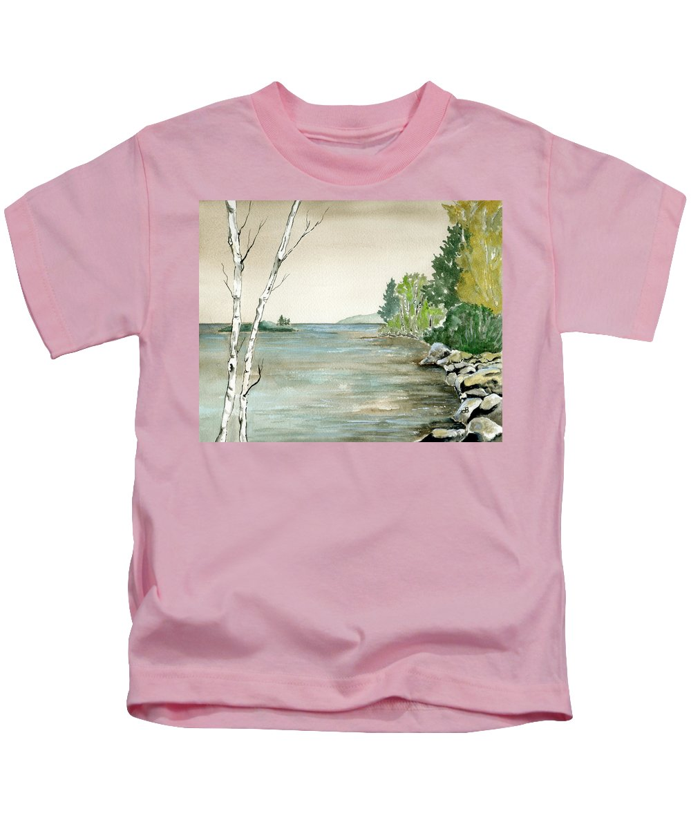 Landscape Watercolor Birches Trees Lake Pond Water Sky Rocks Kids T-Shirt featuring the painting Birches By The Lake by Brenda Owen