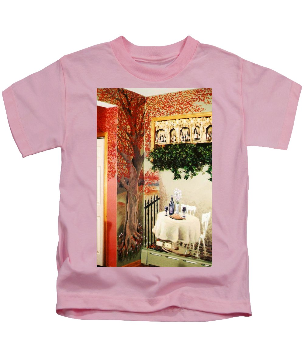 Mural Kids T-Shirt featuring the painting Bistro Mural Detail 2 by Rachel Christine Nowicki