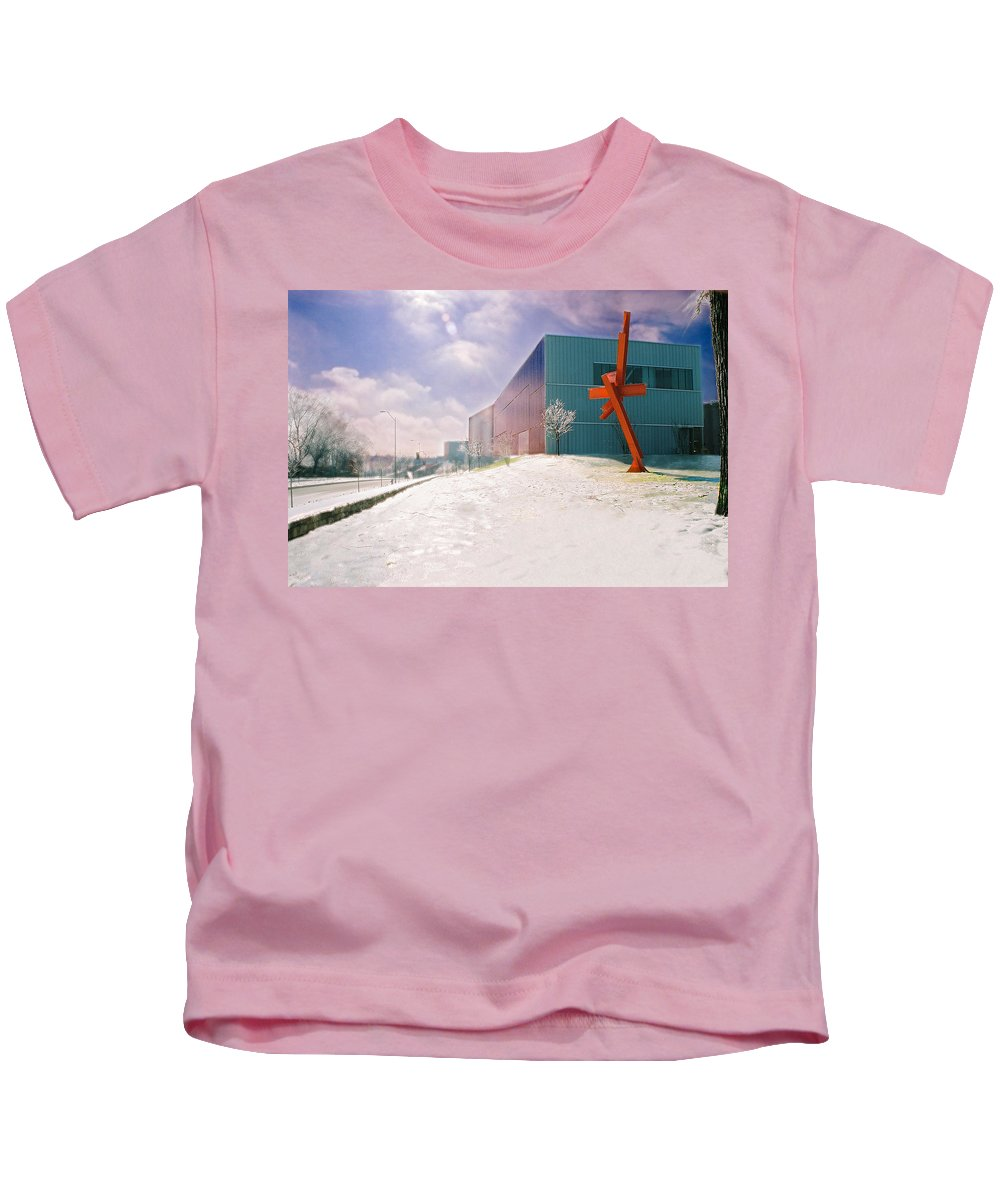 Landscape Kids T-Shirt featuring the photograph Bloch Building At The Nelson Atkins Museum by Steve Karol