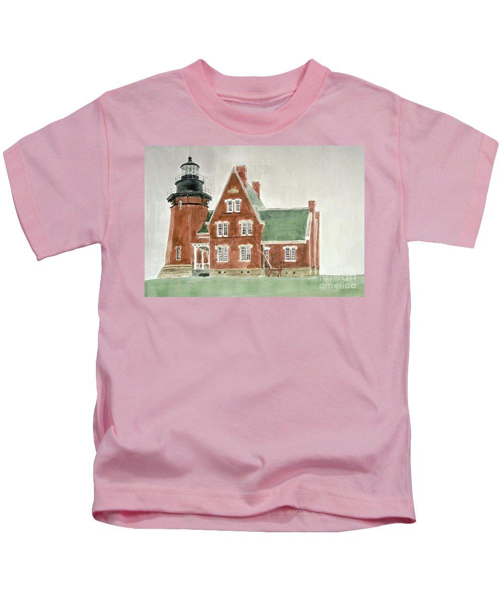 Lighthouse Kids T-Shirt featuring the painting Block Island Southeast Lighthouse by Robert Bowden